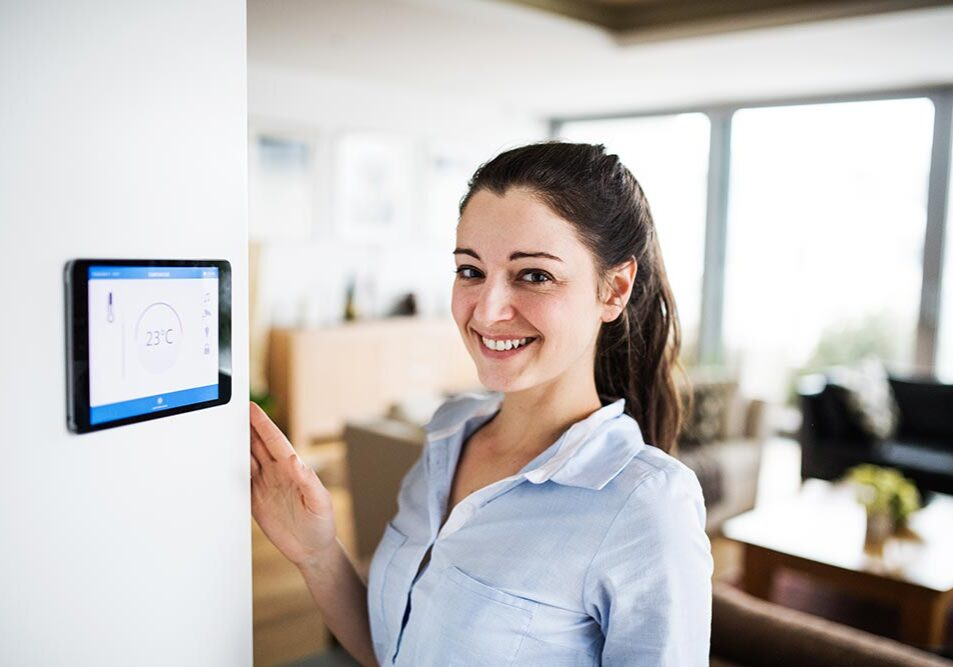 Woman working in a smart building
